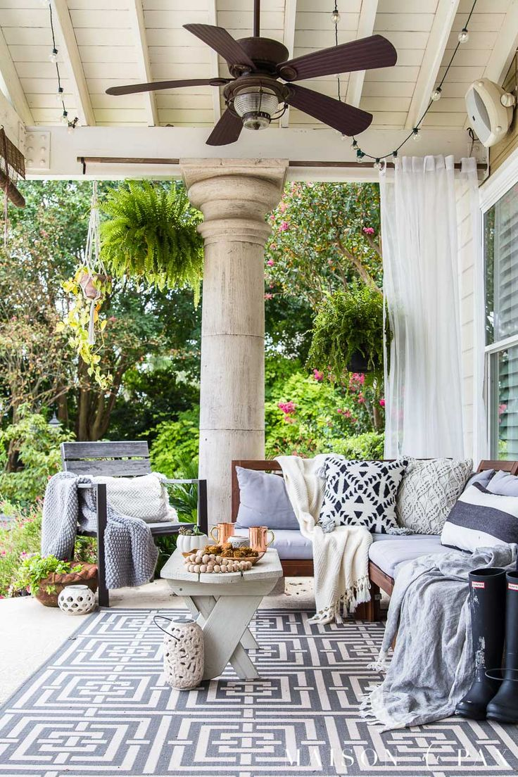 Black and White Fall Porch Decorating Ideas | Outdoor ... on Black And White Backyard Decor  id=43744