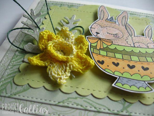 ProjectGallias:#projectgallias easter handmade card with bunny and crotchet daffodil, wielkanocna kartka z zajączkiem i szydełkowym żonkilem,