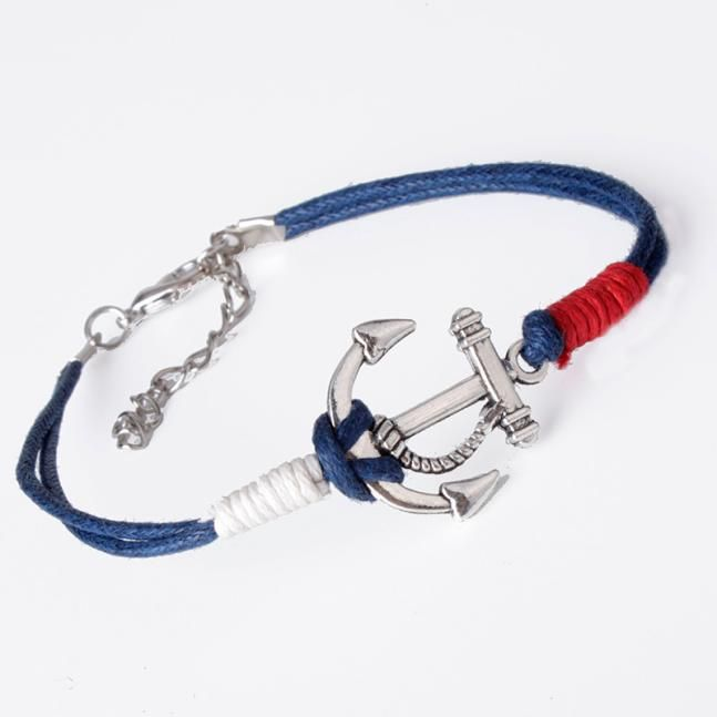 2017 Rope Bracelets Women Men Retro Alloy Anchor Braided Rope Charm Silver Jewelry Leather Bracelet All-match Pulsera Wholesale | #nautical #fashion