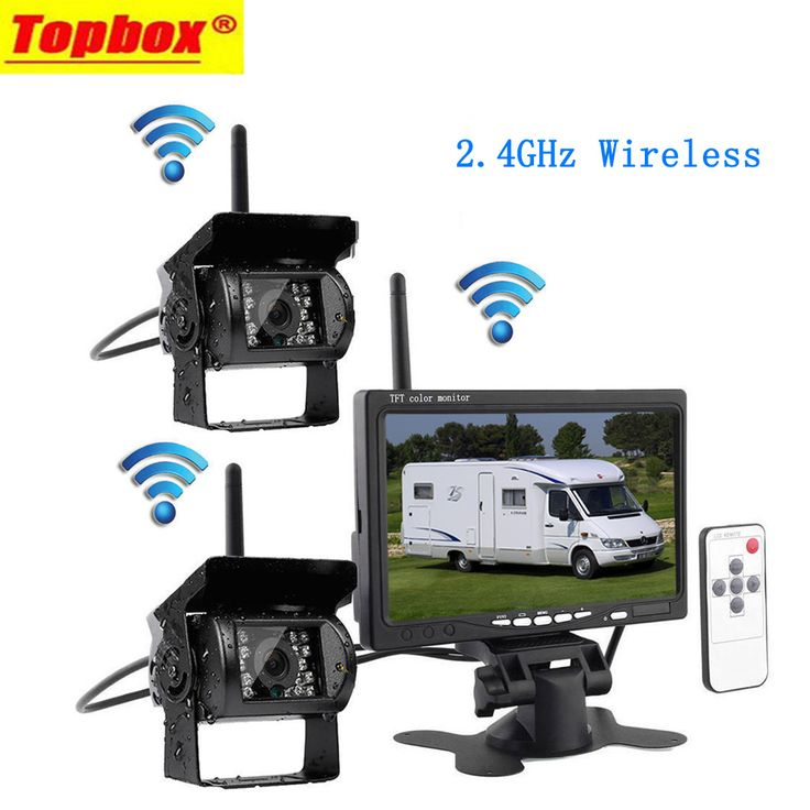 """Wireless 7"""" Monitor Vehicle 2 Backup Camera & IR Night Vision Car Rear View Camera Parking Assistance Waterproof For RV Truck"""