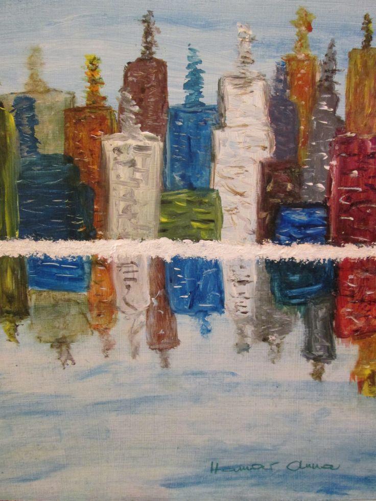 Felhőkarcolók. Akril, farost. 30 x 30 cm.