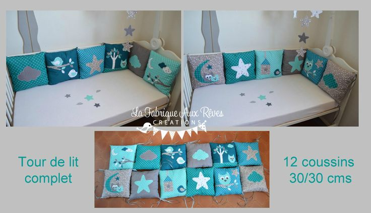 tour lit complet coussin bébé hibou étoiles turquoise pétrôle gris nuage lune feuilles branches