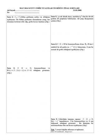 Soyut Cebir Sayılar Teorisi 2 Final Soruları