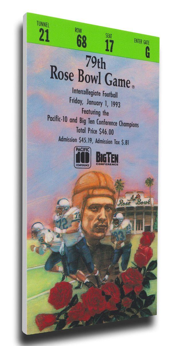 Michigan Wolverines Wall Art - 1993 Rose Bowl Canvas Mega Ticket