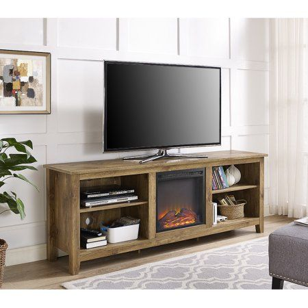 70 inch Wood Media TV Stand Console with Fireplace - Barnwood