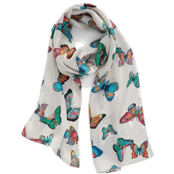 Women's Echo Butterfly Silk Scarf ($39) ❤ liked on Polyvore featuring accessories, scarves, white, butterfly shawl, white scarves, echo scarves, white silk shawl and pure silk scarves