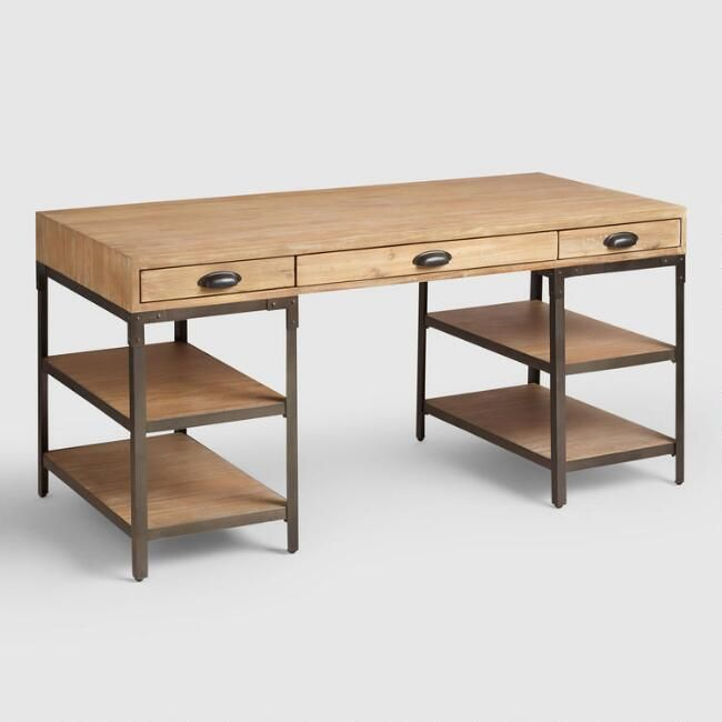 Crafted Of Hardwood With A Lightly Distressed Finish And Metal With Rivet Details Our Mixed Material Ho Cheap Office Furniture Wood And Metal Desk Metal Desks