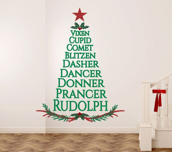 Reindeer Names Christmas Tree Christmas Wall Decal By SignJunkies