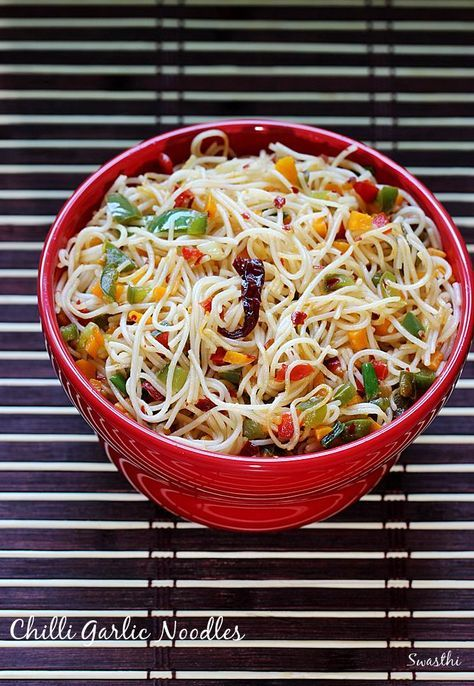 Chilli garlic noodles recipe - A variation of the Indo chinese hakka noodles recipe with fresh garlic and red chilli flakes. Serve hot, you will love it.