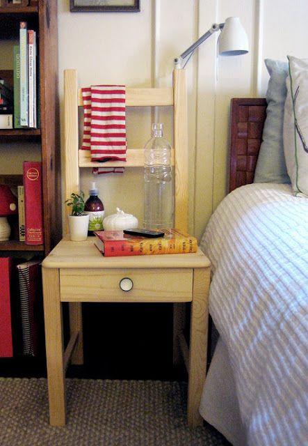 INSPIRÁCIÓK.HU Kreatív lakberendezési blog, dekoráció ötletek, lakberendező tanácsok: Hálószoba ötletek: Ikea székből éjjeliszekrényt