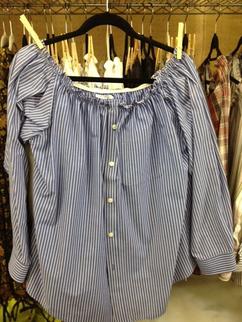 recycle men's shirt, add elastic to neckline and wear with skinny jeans