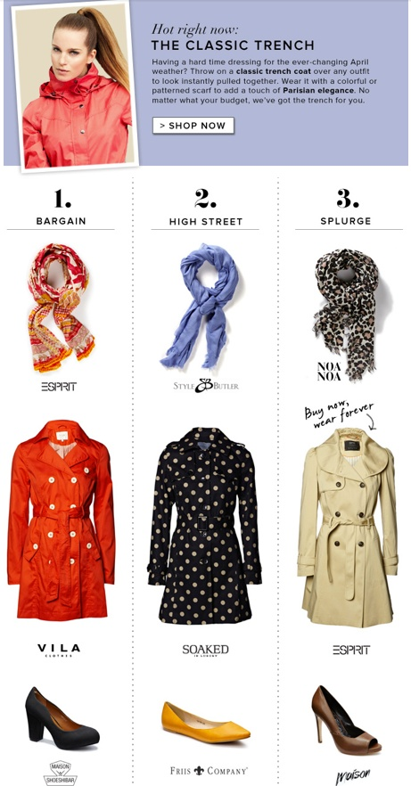 Hot right now - The Classic Trench    http://www.boozt.com/r/womens/outerwear#page=1=100=126737,3203675,126733