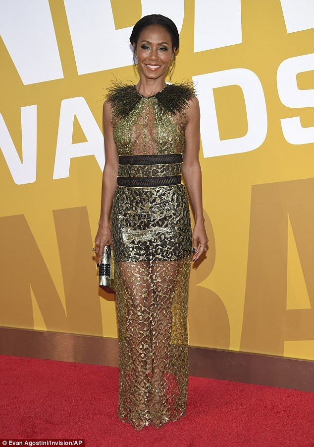 Frilly frock: Jada Pinkett Smith, 45, sizzled in a metallic number for the NBA Awards on M...