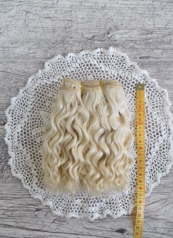 Weft doll hair mohair goat hair 1 m for waldorf doll wig custom Blythe wig natural Wool Doll Hair Color blonde
