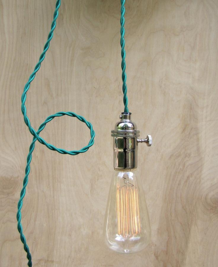 green pendant lighting modern hanging edison light bare bulb minimalist lamp