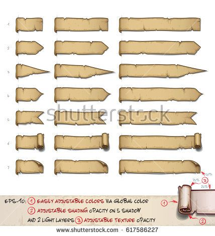 Vector cartoon illustration of aged old papyrus or parchment web side tags. Set of 7 designs by 3 sizes. Neatly layered and labeled with Global Colors for easy editing.