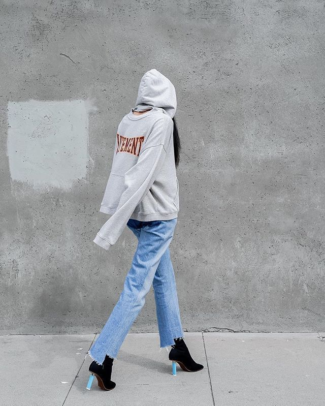 Vetements Bomber, Crewneck Hoodie, Denim and Heels Aleali May by Allen Park