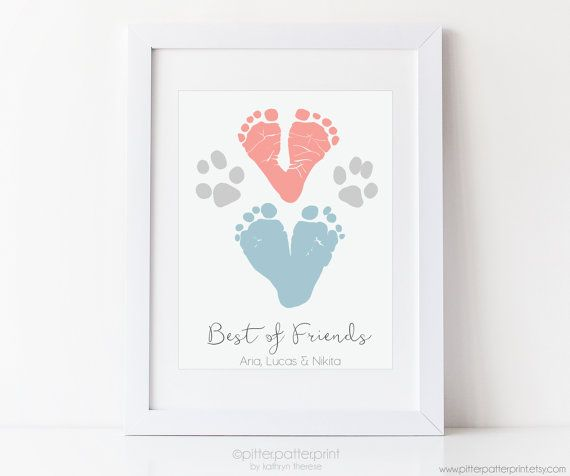 Child and Dog Footprint & Paw Art Print Dog by PitterPatterPrint