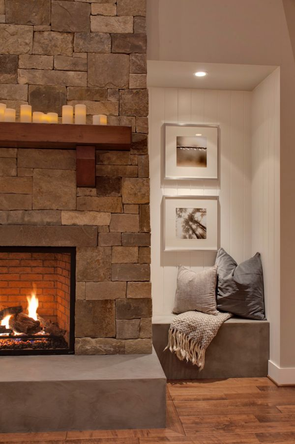 56 Clean and modern showcase fireplace designs raised hearth with wood mantle