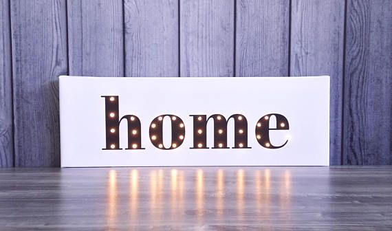 HOME sign Our first home sign Light up sign Light up
