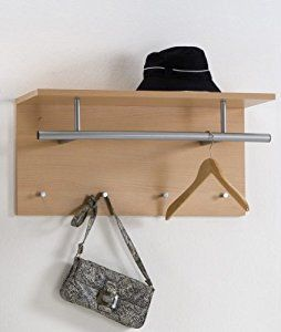 TIDY Wall Mounted Coat Hooks Rack Stand With Coat Rail & Storage Shelf in Beech Colour by DMF: Amazon.co.uk: Kitchen & Home