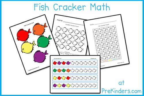 """These printable activities can be used with """"Pepperidge Farm Goldfish Colors"""".  You might not want to do all of these activities with your class; just pick and choose what you prefer. The Fish Cracker Sort & Count might be more suited to Pre-K and the Fish Cracker Counting Sheet might be more suited to Kindergarten, but that is entirely up to the individual teacher."""