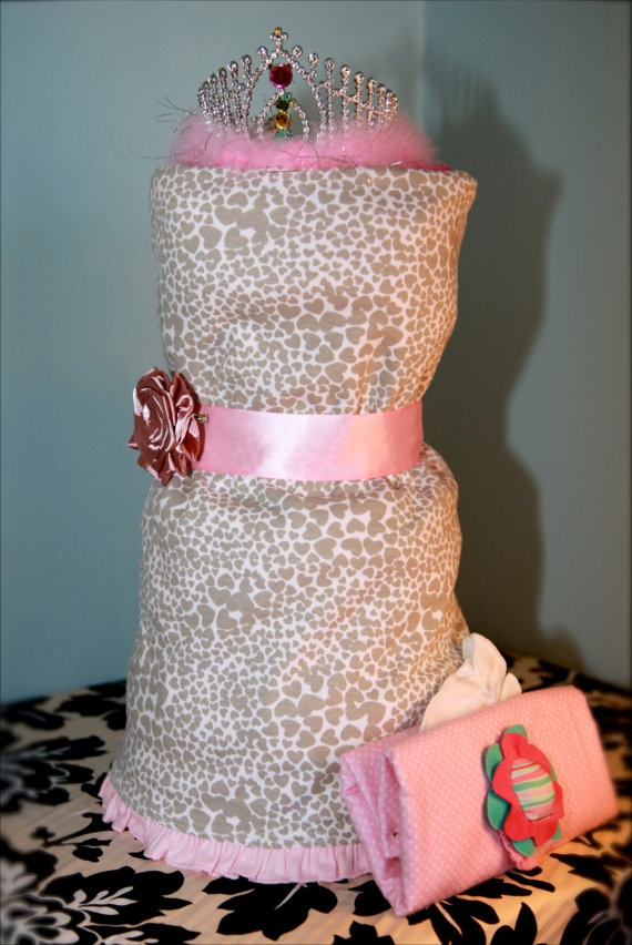 Diaper Cake Dress for Baby Shower - use as a shower gift and centerpiece