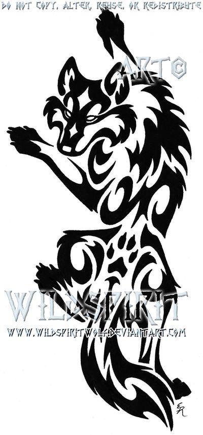 Tribal Wolf Tattoo   Climbing Tribal Wolf Tattoo by ~WildSpiritWolf on deviantART