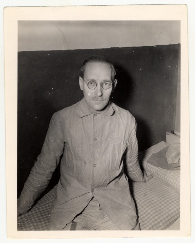 """""""Dr. Carl Hermann, a Quaker, has been a prisoner of the Nazis since May 5, 1943. He is a German, but anti-Nazi. He and his wife gave shelter to a Jewish family and listened to foreign broadcasts. Dr. Hermann is a physicist by profession and worked in a [IG Farben] near Berlin before he was taken prisoner by the Gestapo and placed in Halle Jail."""" Karl was taken to his lab every day to continue his work and brought back to prison at night."""