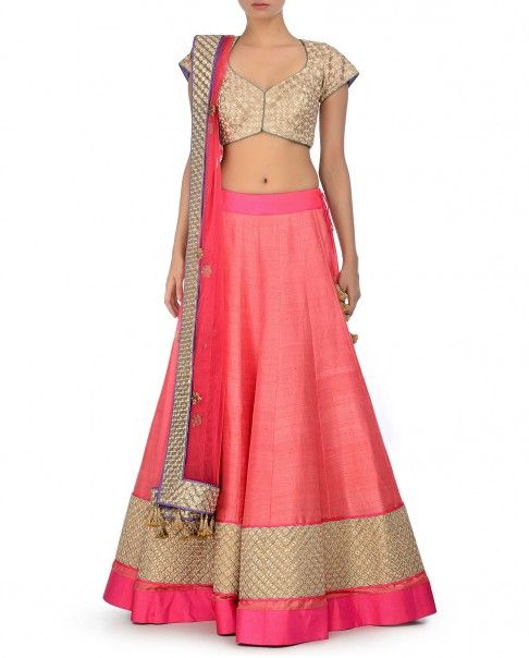 Coral Lengha Set with Embroidered Hem - Jade By Monica & Karishma