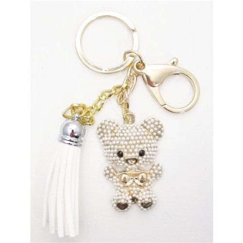 1 Pc Handmade Gold Bear with Pearl Bling Keychain with Lobster Clasp