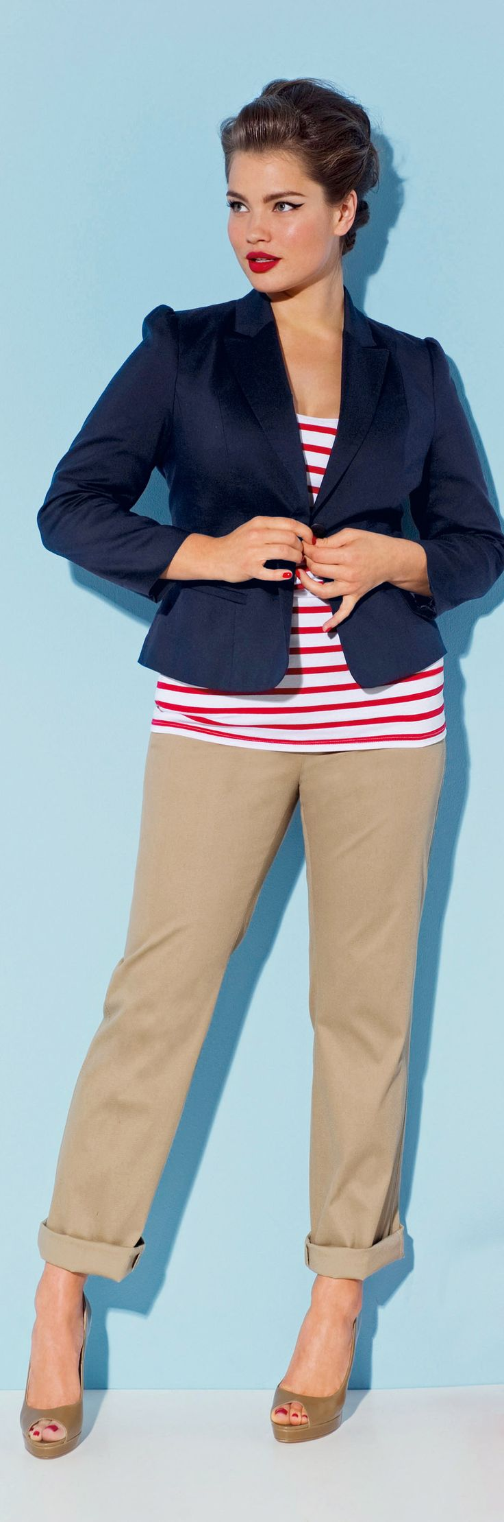 plus size nautical stripes - see more cruise wear at http://boomerinas.com/2011/12/womens-travel-cruise-wear-online-over-40-50/