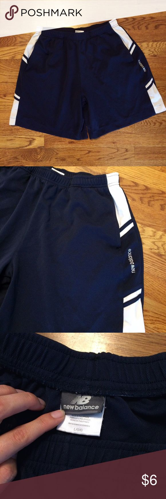 New Balance Navy and White Sport Shorts Mens activewear shorts, size L, good condition New Balance Shorts Athletic