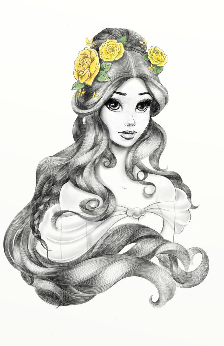 Janene Dunbar on Behance #Disney #Belle #Hairpik #Illustration Beauty and the Beast