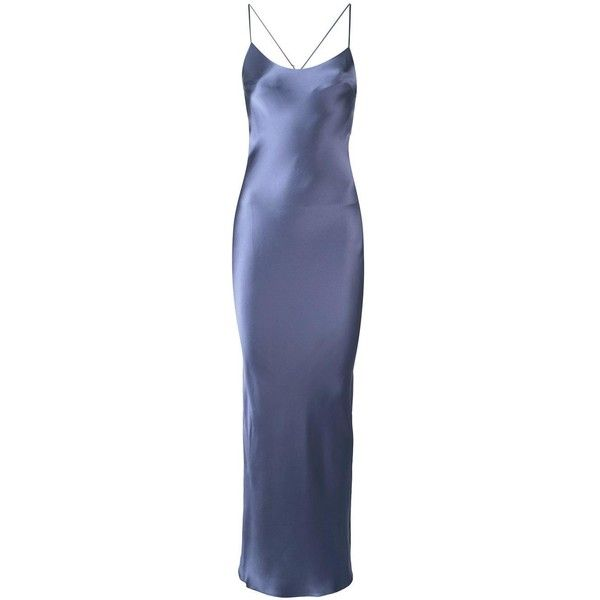 Gilda & Pearl 'Hour Before Dawn' long slip ($730) ❤ liked on Polyvore featuring intimates, shapewear, dresses, gowns and blue