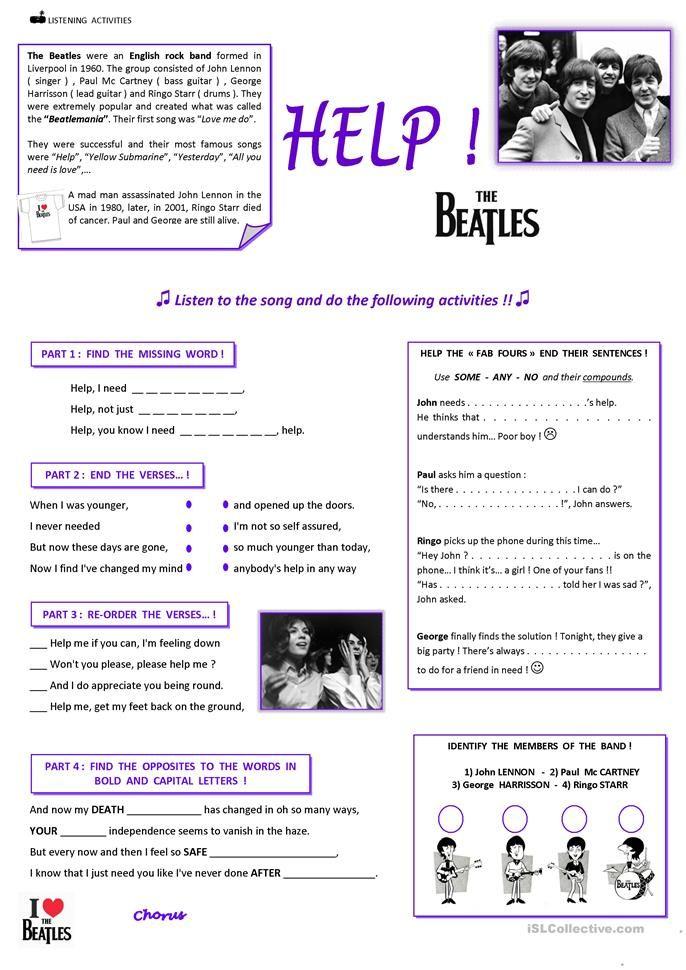 Help The Beatles Classroom Songs The Beatles Beatles Songs