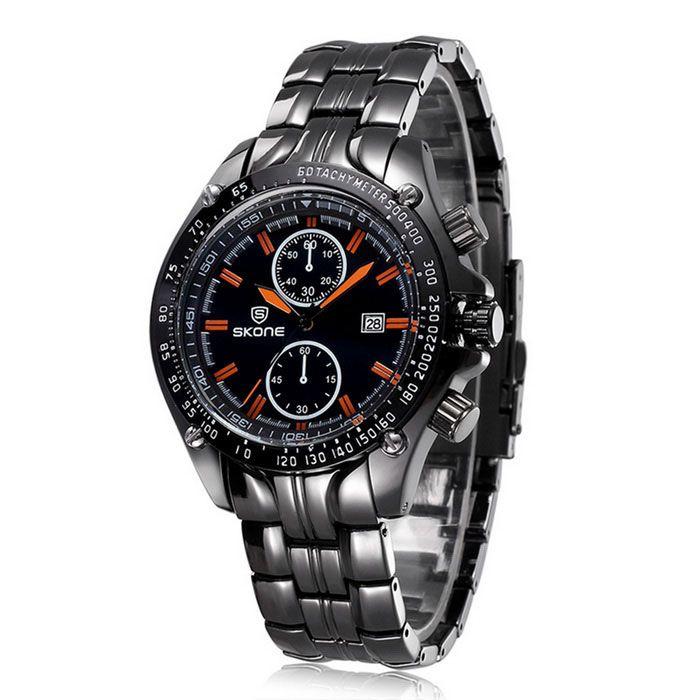 SKONE Men's Fashion Steel Band Analog Quartz Wrist Watch w/ Calendar - Black + Orange (1 x 377)