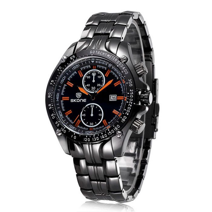 SKONE Men's Fashion Steel Band Analog Quartz Wrist Watch w/ Calendar - Black + Orange (1 x 377)
