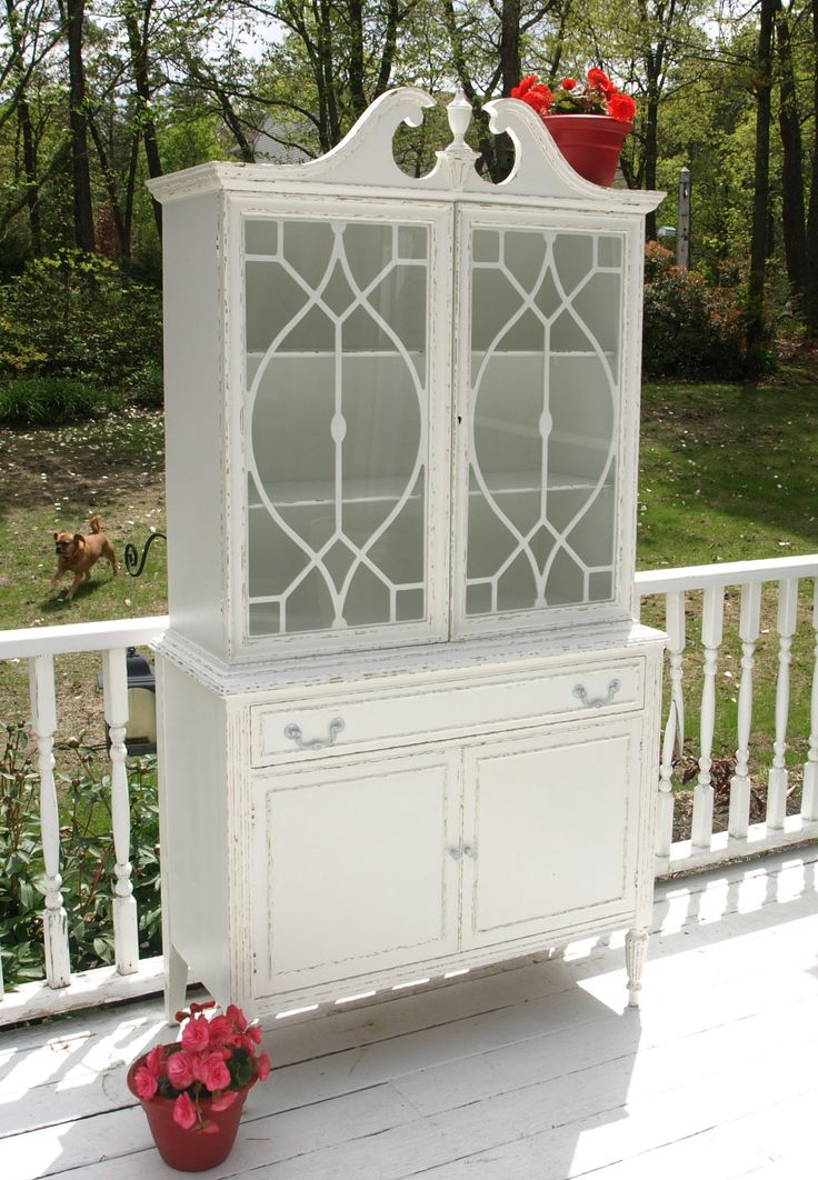 china hutch shabby chic   Shabby Chic Antique China Cabinet/Hutch by Nottheendoftheroad