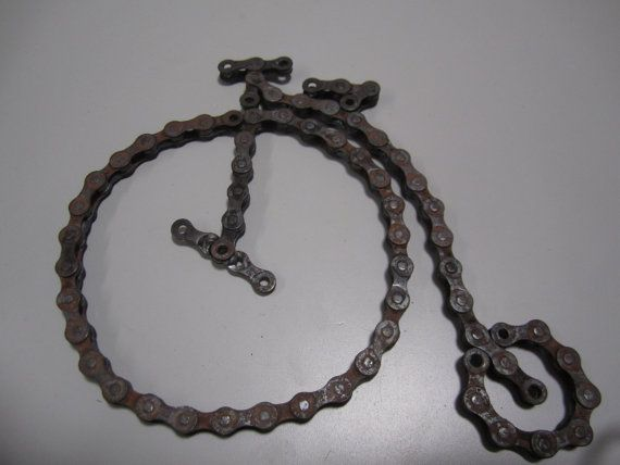 Bicycle made from recycled bike chainantique by midwestrecycledart, $25.00