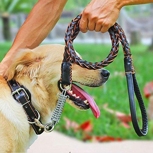 Leather Dog Leash Braided Pet Training Leather Lead Belt for Medium Large Dogs #COMSUN