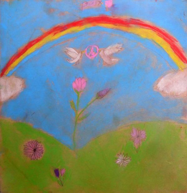 Les Fleurs de Paix / Flowers of Peace    Artist:Abigail A.  Location:Burnaby, Canada  Age:7
