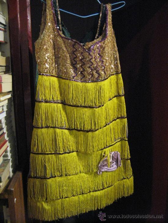 Antiguo vestido- Charleston - marron - lila  - flecos amarillos