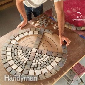 REALLY detailed tutorial for a from-scratch mosaic table (outdoors) - I would just use the mosaic top instructions and ignore the rest.  This could be helpful if A. decides to go for a mosaic table top for her 4-H Fine Arts exhibit ....