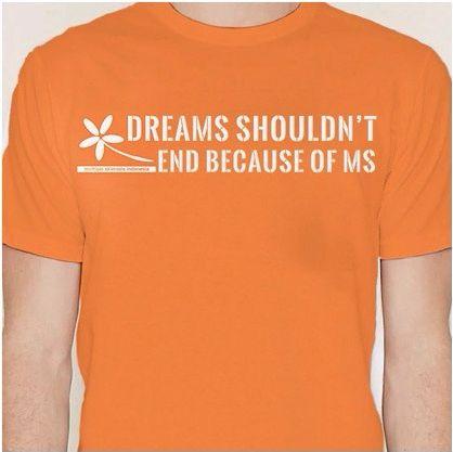 Pada t-shirt tanpa kerah ini, terdapat logo YMSI dan slogan penyemangat bagi penderita MS, berupa kalimat bahwa mimpi-mimpi para penderita seharusnya tidak akan berhenti hanya karena penyakit multipel sklerosis (MS).  Kami menyediakan ukuran small (S), medium (M), large (L), XL (Extra Large), dan XXL (Double Extra Large).  Kaos ini berwarna oranye, yang merupakan warna dasar solidaritas secara internasional bagi penderita MS. Harga donasi untuk t-shirt ini Rp 150.000/pcs