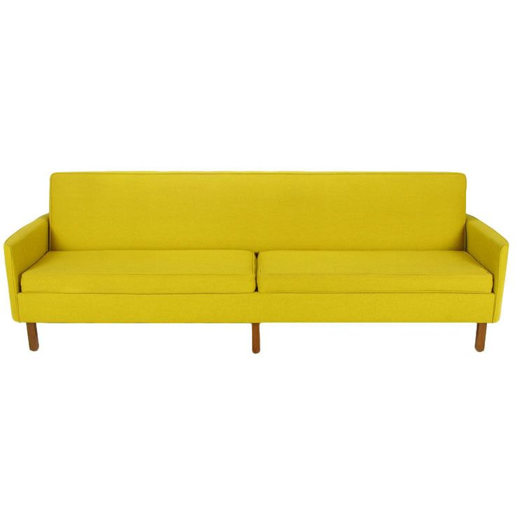 Yellow Wool Curved Arm Sofa By Moselle Meals