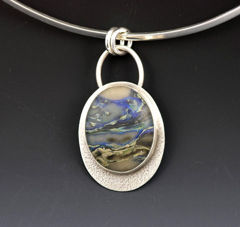 """""""Seashore""""...this is one of my glass cabochons set in a silver bezel on a textured silver backplate. My cabs are found at growingedgeglass.etsy.com"""