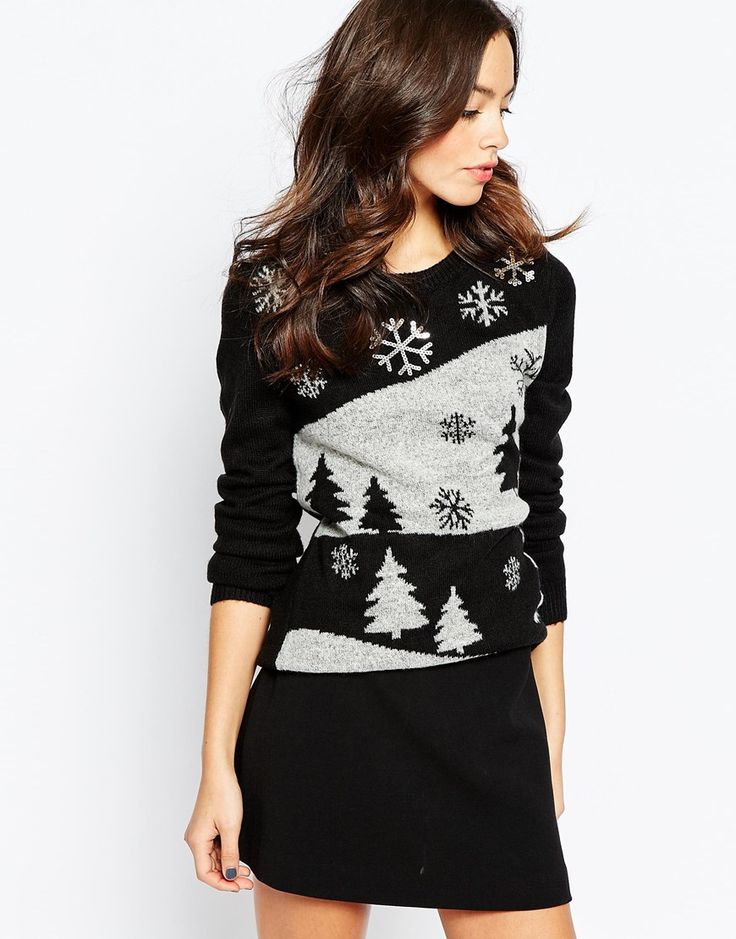 Only Christmas Tree Knitted Jumper With Sequin Detail