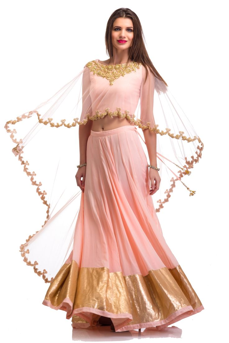 Soft Pink Cape Lehenga Set