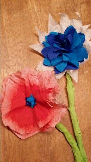 Bloemen van crêpepapier. De rode is 'gewassen' in een kopje water. Mooi effect.